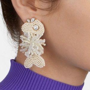 New! BaubleBar white fish beaded earrings.